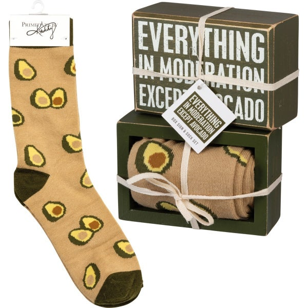 Avocado Box Sign with Socks