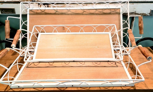 White Metal/Wood Trays