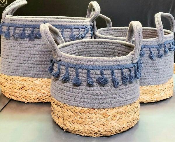 Blue Bottomed Basket w/ Handles