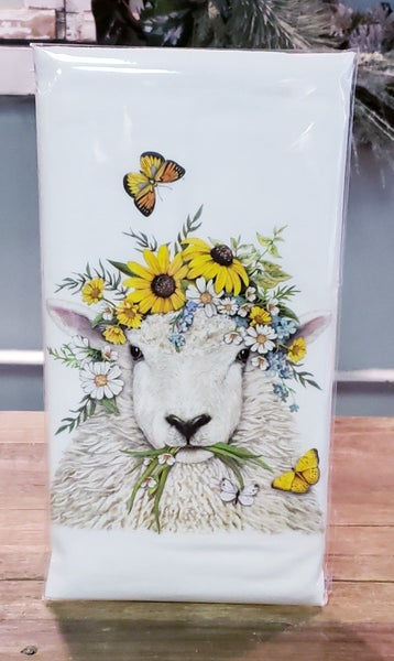 Sunflower Sheep Bagged Tea Towel