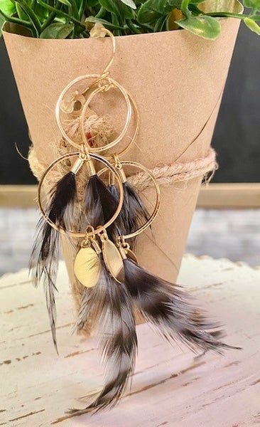 Gold and Feathers Earrings