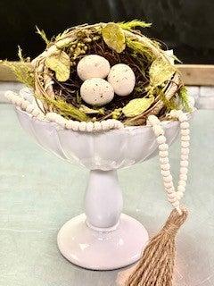 Fluted Porcelain Bowl on Pedestal