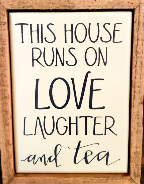 Laughter & Tea Mini Enamel and Wood Box Sign