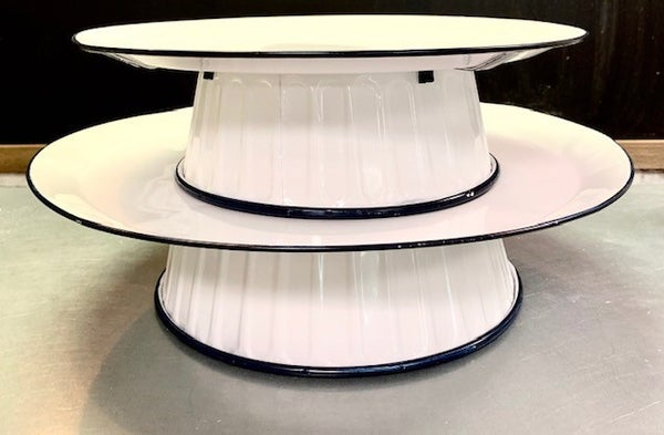 Navy/White Enamel Risers
