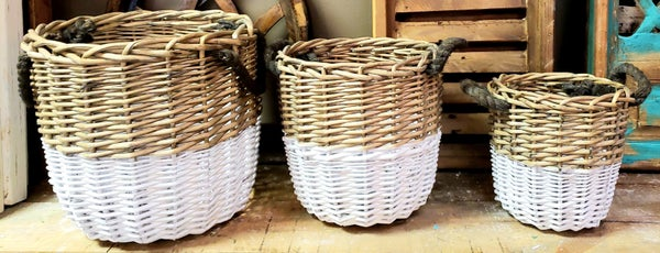 Small Two Toned Baskets w/ Rope Handles