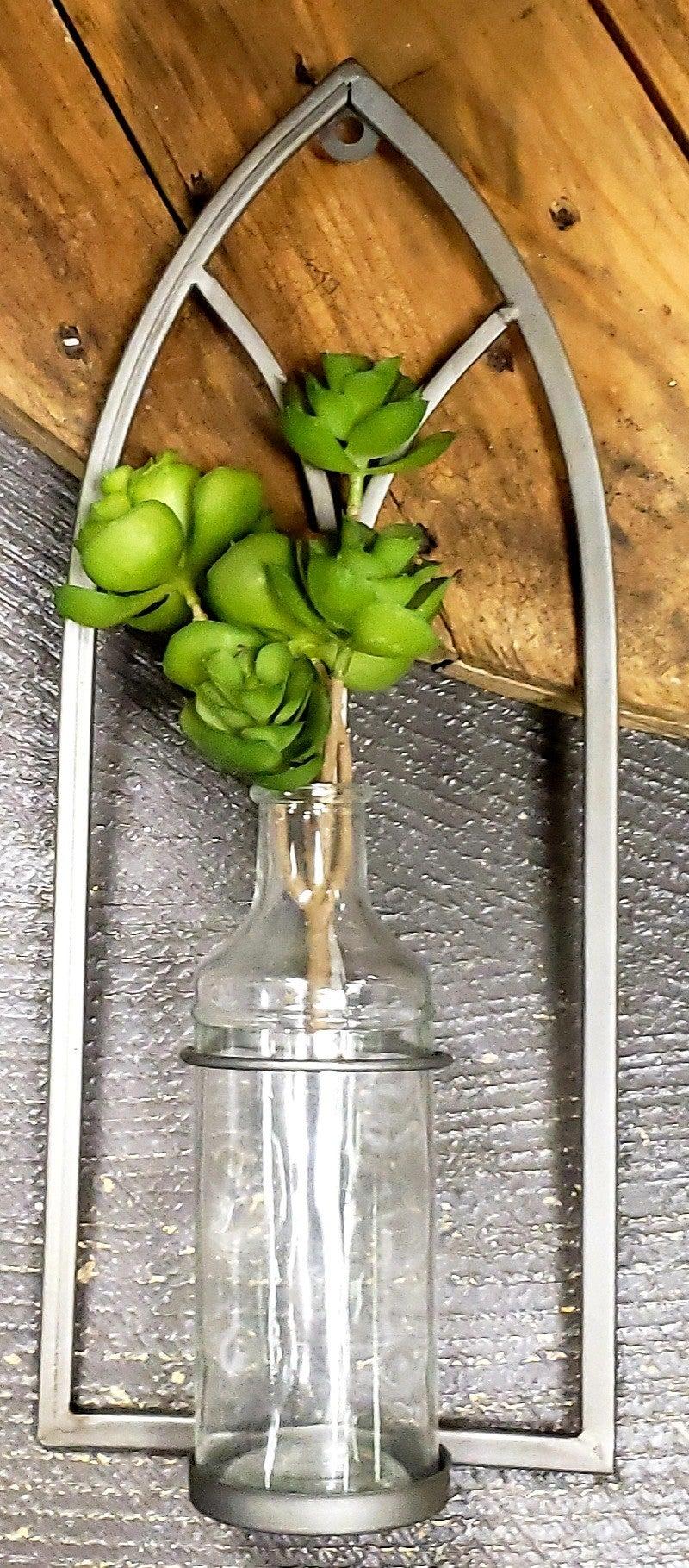 Metal Sconce w/ Glass Bottle