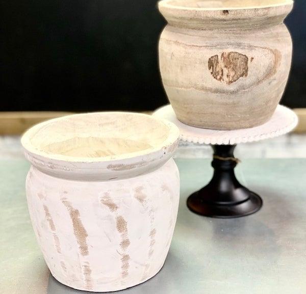 Wooden Dough Bowl Vase