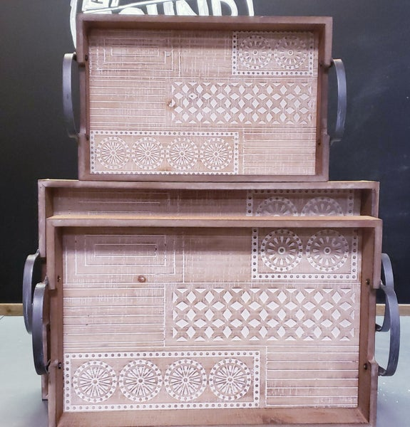 Patterned Tray w/ Handles