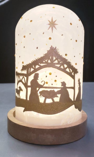 Hand painted Nativity LED Cloche