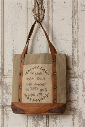 Positive Thought Canvas and Leather Tote