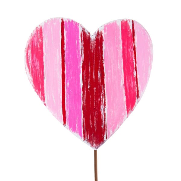 Large Messy Striped Heart Stake