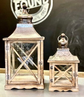 Crisscross Galvanized Wood Lanterns