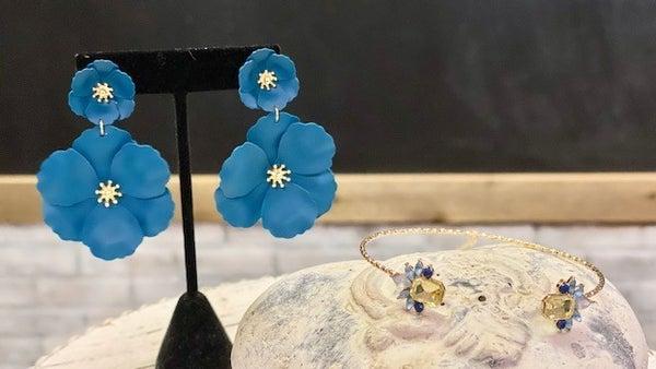 Teal/Gold Flower Dangle Earrings