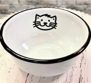 Black & White Enamel Cat Dish