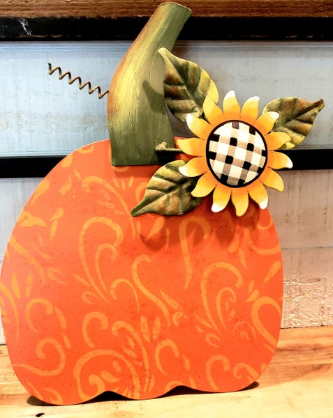 Buffalo Checked Sunflower Pumpkin Stake