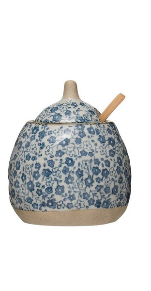 Hand Painted Blue Antique Sugar Pot w/ Lid & Spoon
