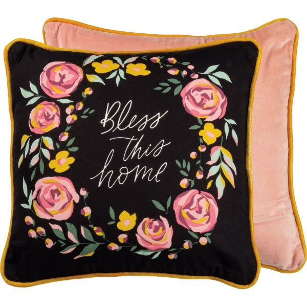 Bless This Home Floral Pillow