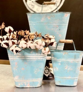 Teal Hanging Picket Bucket