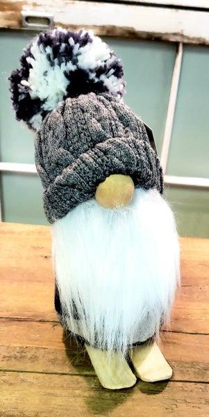 Grey Gnome on Skis w/ Pom Pom