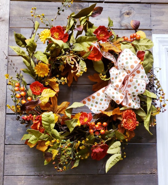 Fall Poppies Wreath