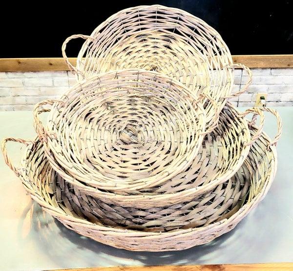 Grey Willow Round Basket Tray w/ Handles