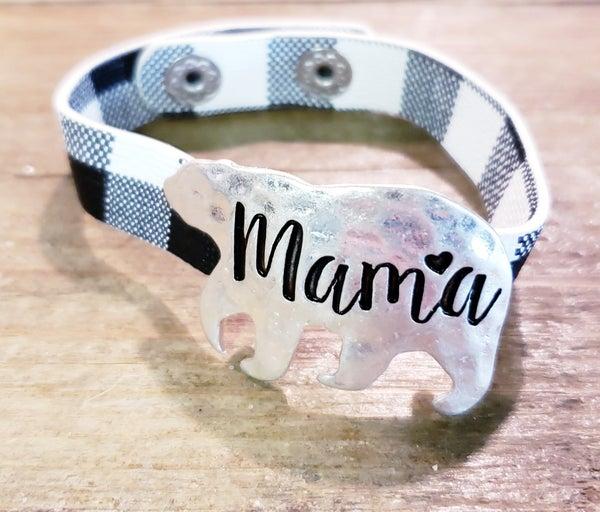 Mama Bear Buffalo Check Bracelet