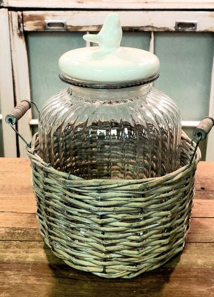 Large Jar in Wicker Basket w/ Bird Lid