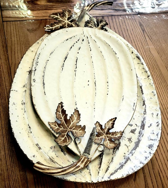 White Metal Pumpkin Tray