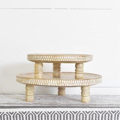 White Wash Carved Wood Riser