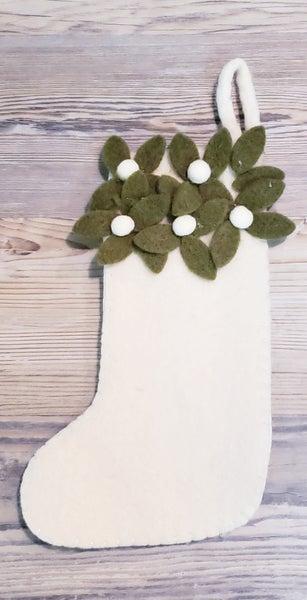 Small White Stocking w/ Holly