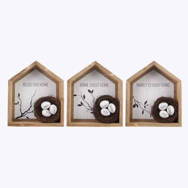 Wooden House Shaped Box Sign with Nests