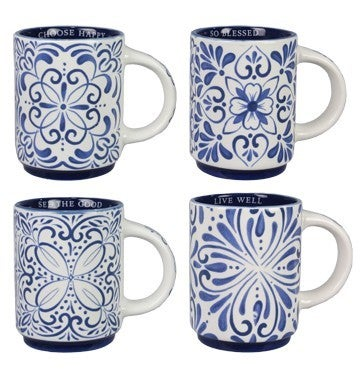Blue and White Terra Cotta Mugs