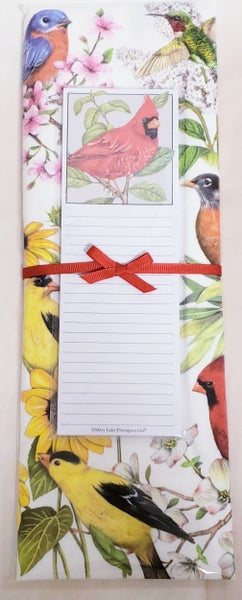 Birds & Flowers Tea Towel w/ Notepad Set