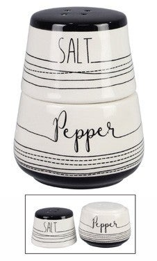 Stacking Black and White Salt and Pepper Shaker Set