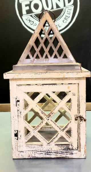 Chippy White English Lantern w/ Metal & Wood