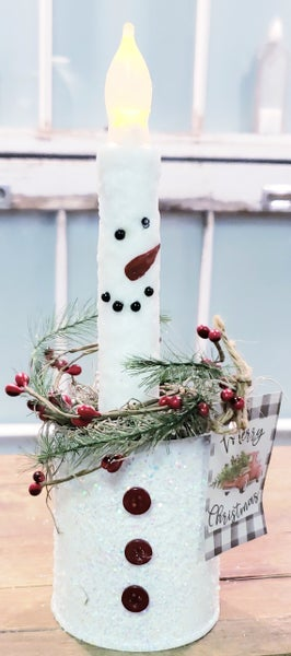 Snowman Taper Candle