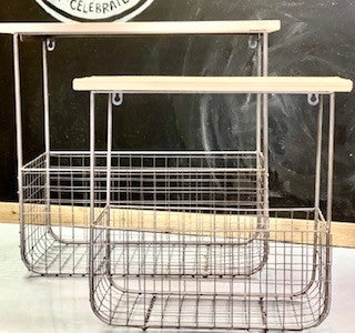 Wire and Wood Basket Wall Shelf