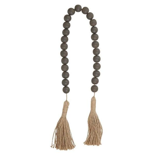 Charcoal Wooden Beads w/ Jute Tassels
