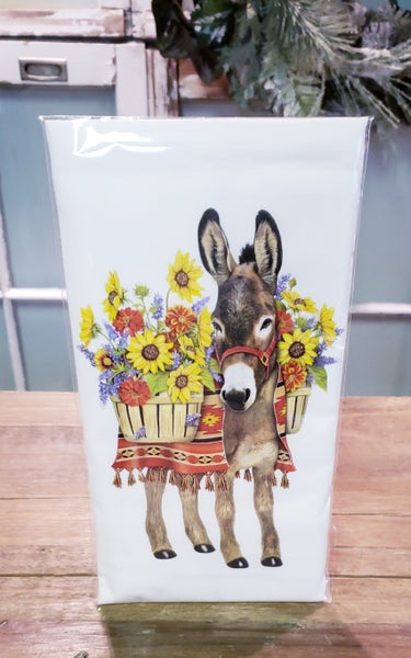 Donkey & Wildflower Bagged Tea Towel