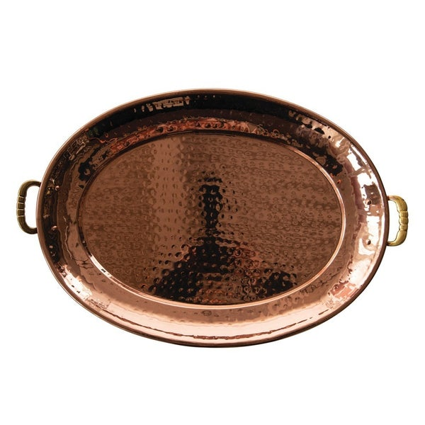 Hammered Copper Tray with Handles