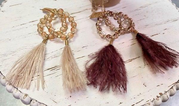 Feather/Bead Earrings