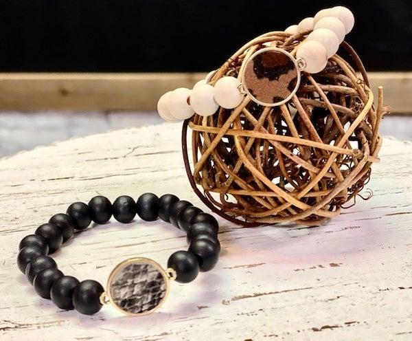 Wood Bead Animal Print Bracelet