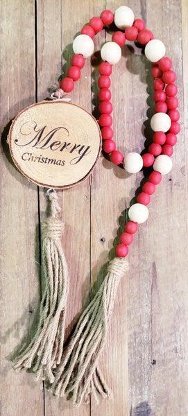 Merry Christmas Wood Bead Garland w/ Tassels