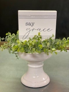 Say Grace Striped Box Sign