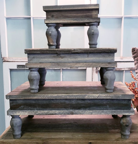 Chunky Wooden Table Top Risers W/ Legs