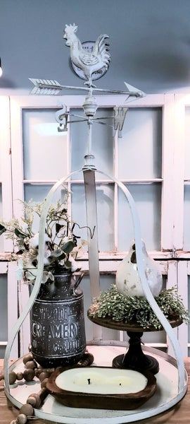White Weather Vane Plant Holder