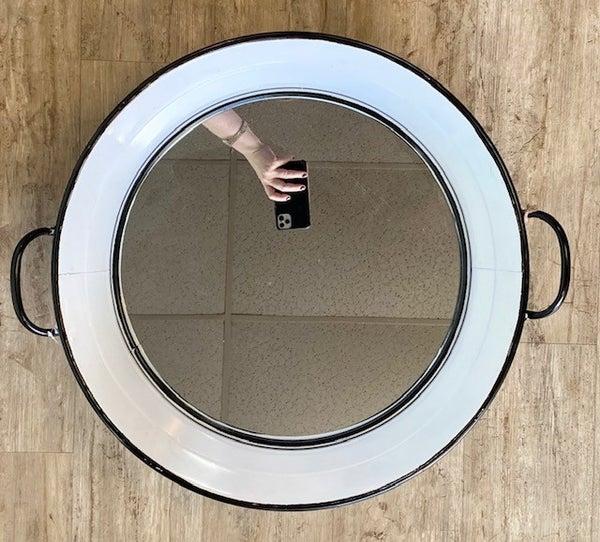 Black/White Enamel Mirror