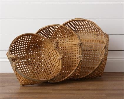 Round Baskets with Handles and Metal Edge