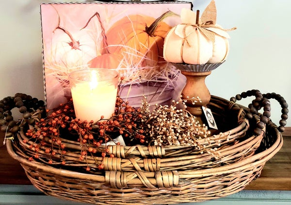Oval Willow Basket w/ Beaded Handles