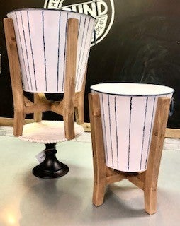 Blue and White Buckets on Wood Pedestals